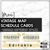Vintage Map Schedule Cards