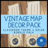 Vintage Map and Travel Theme Classroom Decor Pack