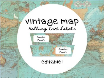 Vintage Maps Cart Labels