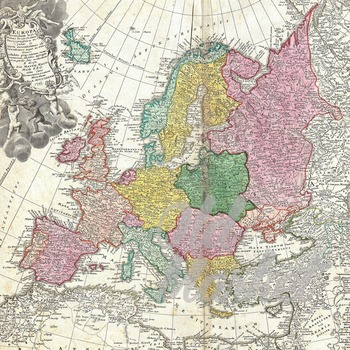 Vintage Maps of Europe Digital Papers - 16 Different Papers - 12inx12in