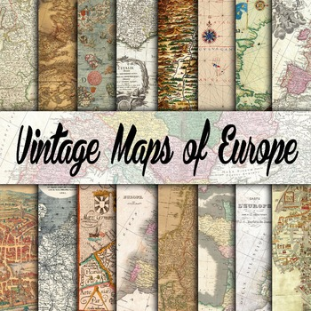 Vintage Maps of Europe Digital Papers - 16 Different Paper