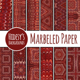 Vintage Marbled Backgrounds / Digital Paper in Rich Browns and Reds Clip Art