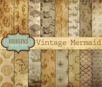 Vintage Mermaid Nautical Ocean Digital Paper Backgrounds