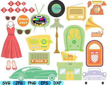Vintage Music retro radio clip art svg cars car Rock And Roll party 60s 50s 114S