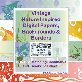 Vintage Nature Inspired Digital Papers, Backgrounds & Borders