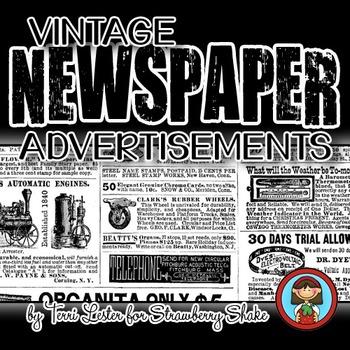Vintage Newspaper Advertisements Background Paper 12x12