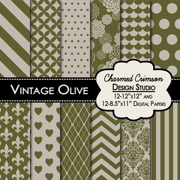 Vintage Olive Green Digital Paper 1257
