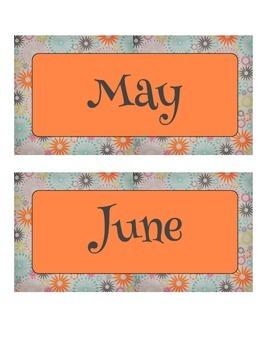 Vintage Orange, Blue, and Pink Sunburst Calendar Month Labels