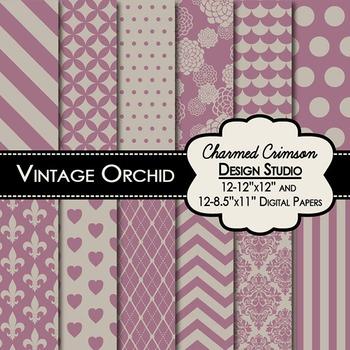 Vintage Orchid Digital Paper 1389