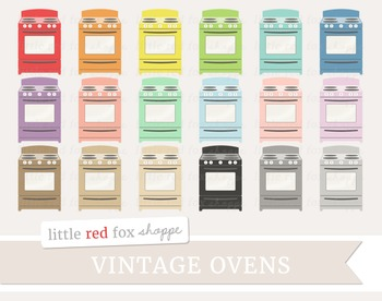 Vintage Oven Clipart; Kitchen, Appliance, Stove, Cooking, Baking