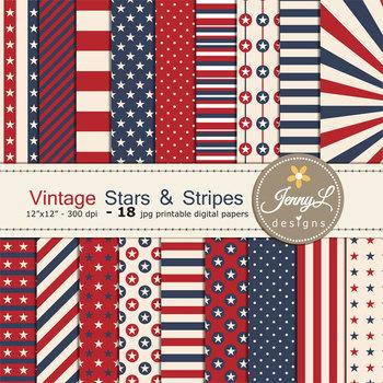 Vintage Patriotic Digital Papers