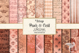 Vintage Peach and Coral Textures digital paper