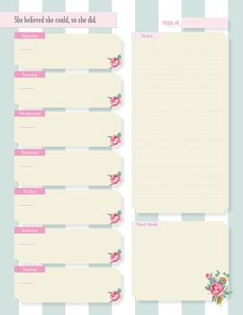 Vintage Peony Flavored Weekly Planner & To do list