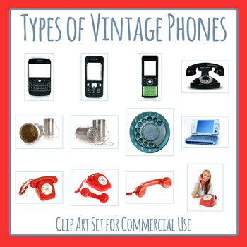 Vintage Phone Photos / Telephones of Past Technology Clip Art Commercial Use