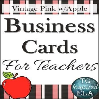 Vintage Pink Apple - Teacher Business Cards: 2 Sizes for Wallets & Refrigerators