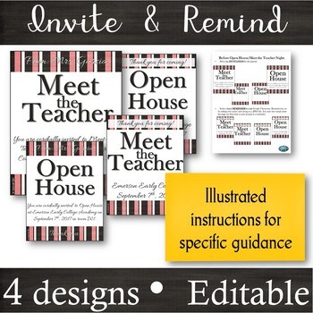 EDITABLE Invitation & Reminder Flyers for Meet the Teacher & Open House