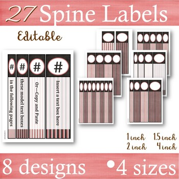 Vintage Pink, Charcoal & Gray -- Binder Covers & Spines Labels
