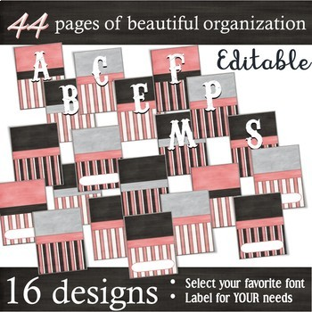 Binder Covers & Spines Labels --Vintage Pink, Charcoal & Gray