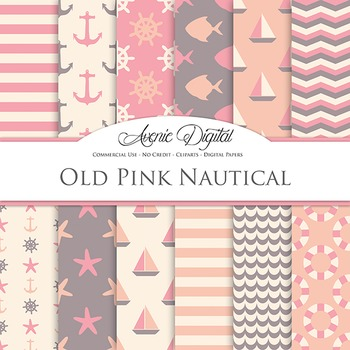 Vintage Pink Nautical Digital Paper patterns - sea scrapbook backgrounds