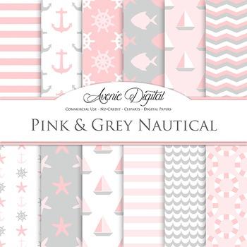 Vintage Pink Nautical Digital Paper patterns - sea scrapbook backgrounds