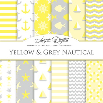 Yellow and Grey Digital Paper patterns - yellow gray sea scrapbook backgrounds