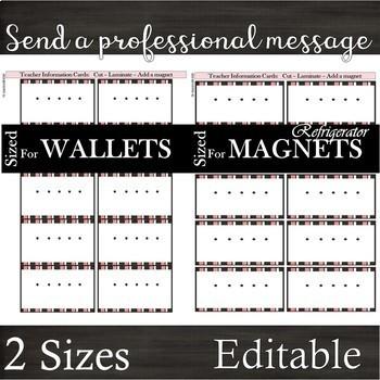 Vintage Pink -- Teacher Business Cards -- 2 Sizes for Wallets & Refrigerators