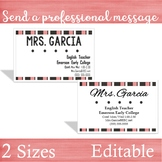 Teacher Business Cards -- 2 Sizes for Wallets & Refrigerators [vintage pink]