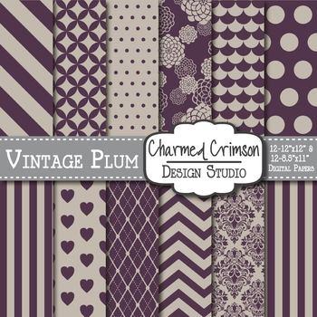 Vintage Plum Digital Paper 1222