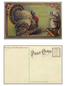 Vintage Postcard Activity: Halloween AND Thanksgiving options