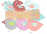 Vintage Print Birds Clipart