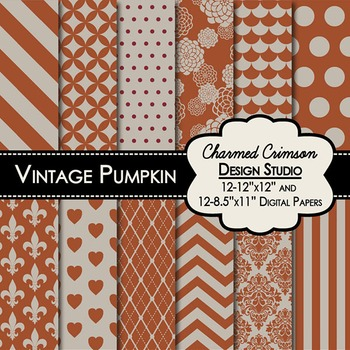 Vintage Pumpkin Digital Paper 1279