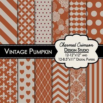 Vintage Pumpkin Digital Paper 1279
