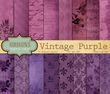 Vintage Purple Digital Paper Pack