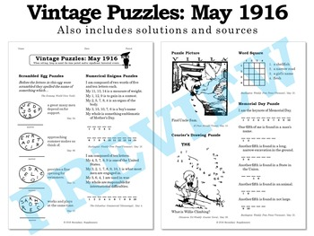 Vintage U.S. History Puzzles from May 1916