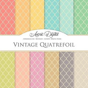 Vintage Quatrefoi Digital Paper patterns scrapbook Worn polka tile background
