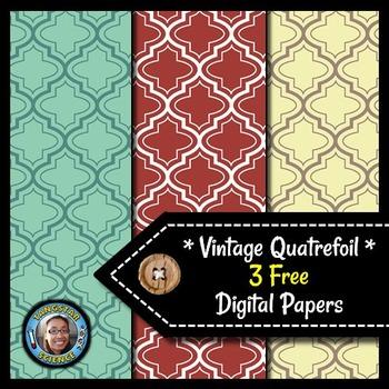 Quatrefoils - 3 FREE Vintage Digital Papers {Commercial &
