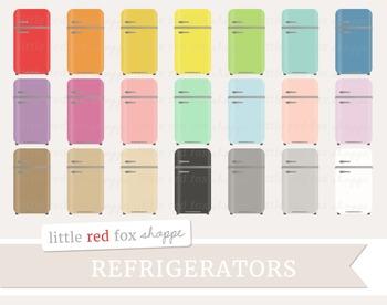 Vintage Refrigerator Clipart; Kitchen, Appliance, Fridge