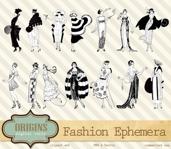 Vintage Retro Fashion Dresses Lady Woman Vector Clipart Clip Art