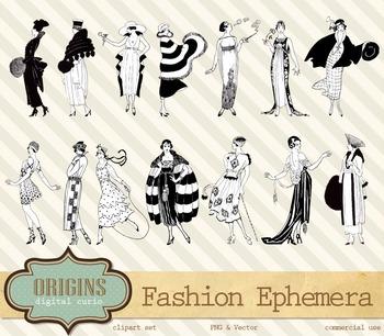 Vintage Retro Fashion Dresses Lady Woman Vector Clipart Clip Art