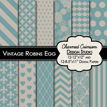 Vintage Robins Egg Digital Paper 1375