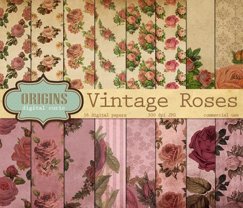Vintage Rose Digital Paper Floral Backgrounds