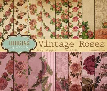 Vintage Rose Digital Paper Floral Backgrounds