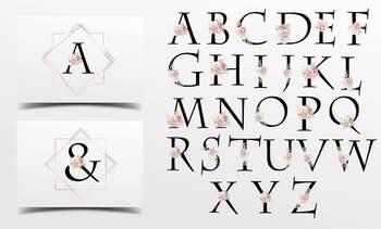 Vintage Roses Floral printable alphabet, Gold foil alphabet, Floral alphabet