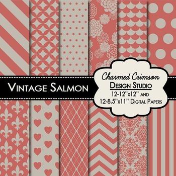 Vintage Salmon Digital Paper 1378