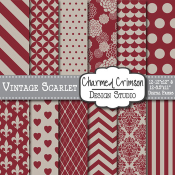 Vintage Scarlet Red Digital Paper 1282