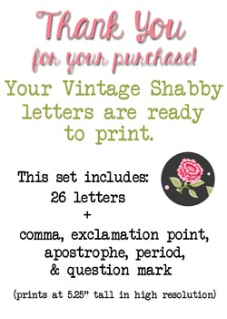 Vintage Shabby Roses Bulletin Board Ready-to-Print Letters!