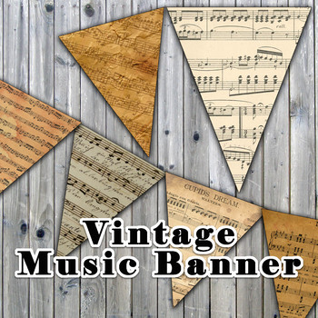 picture about Vintage Sheet Music Printable identify Traditional Sheet Tunes Banner - Printable - Involves 3 Choice Measurements