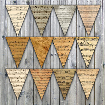 Vintage Sheet Music Banner - Printable - Includes 3 Different Sizes