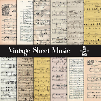 Vintage Sheet Music Digital Paper, 8,5X11 Inches Musical Themed, Music Sheet