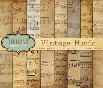 Vintage Sheet Music Digital Scrapbook Paper Backgrounds